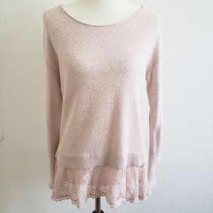 Anthropologie Knitted & Knotted Pink Lace Sweater